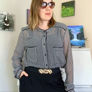 Le Chateau Houndstooth Sheer Blouse